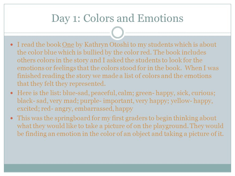 Day 1: Colors and Emotions
