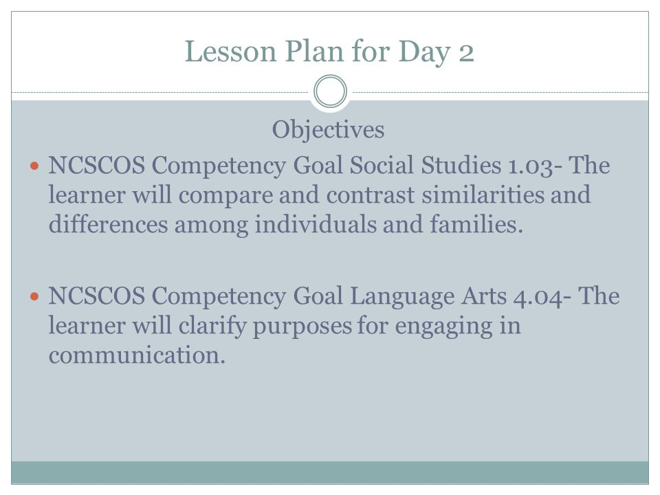 Lesson Plan for Day 2 Objectives