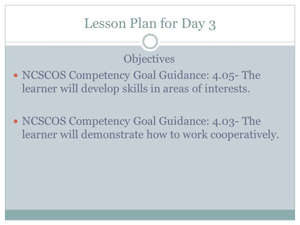 Lesson Plan for Day 3 Objectives