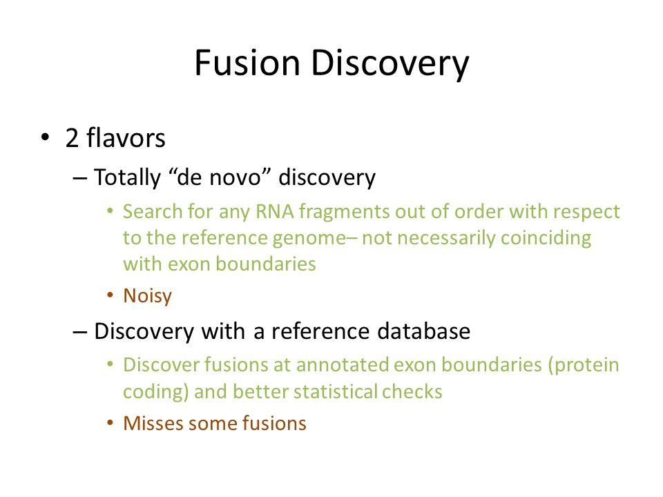 Fusion Discovery 2 flavors Totally de novo discovery