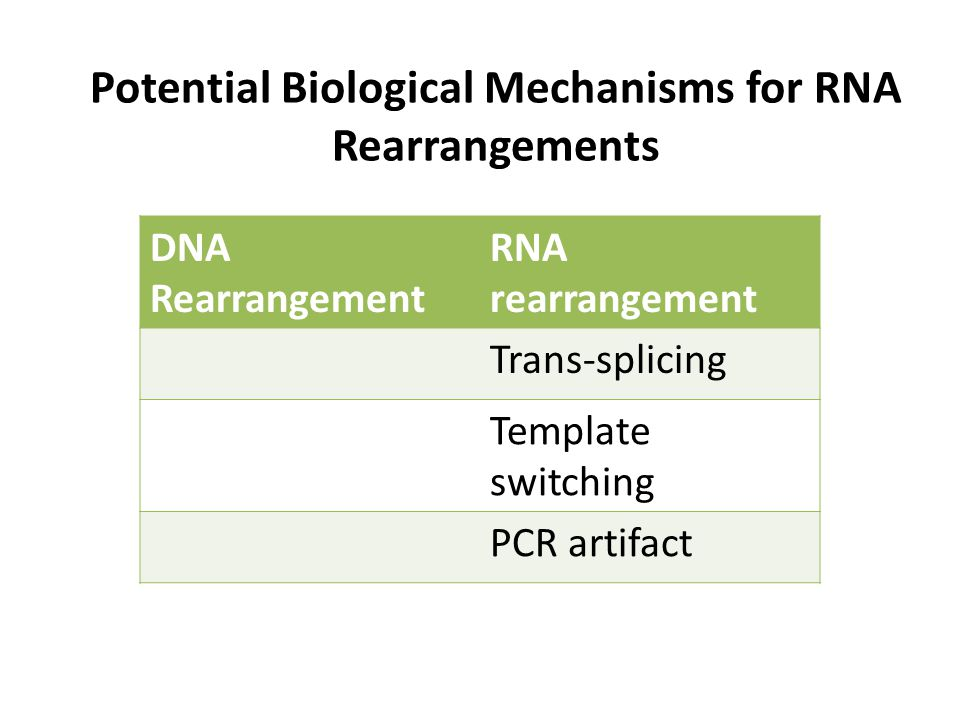 Potential Biological Mechanisms for RNA Rearrangements