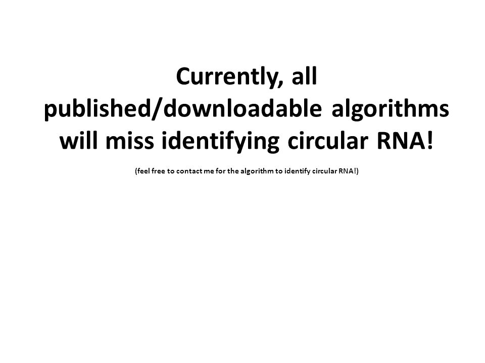 (feel free to contact me for the algorithm to identify circular RNA!)