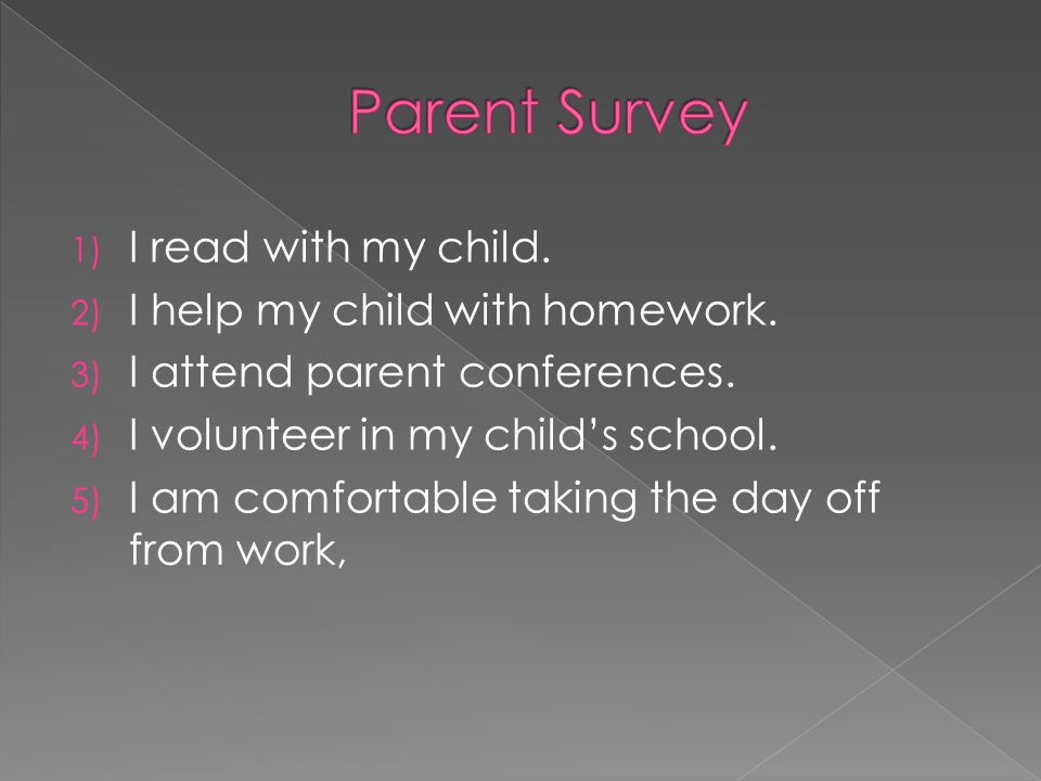 Parent Survey I read with my child. I help my child with homework.