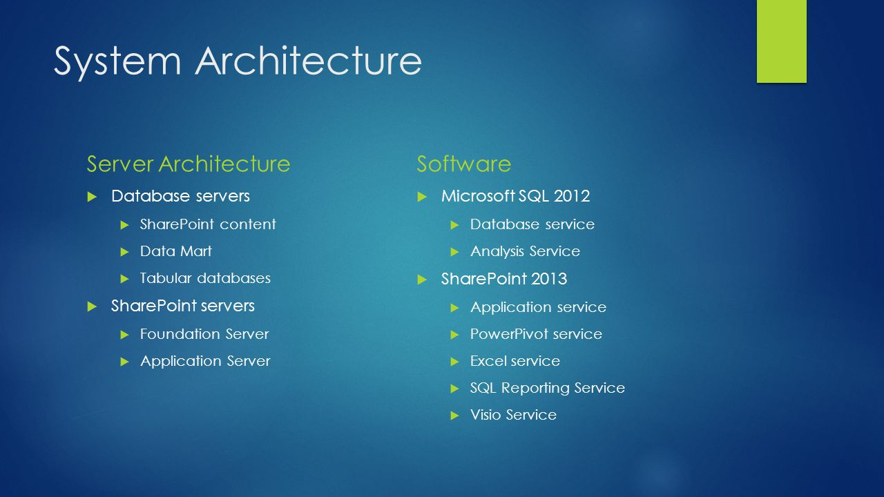 System Architecture Server Architecture Software Database servers