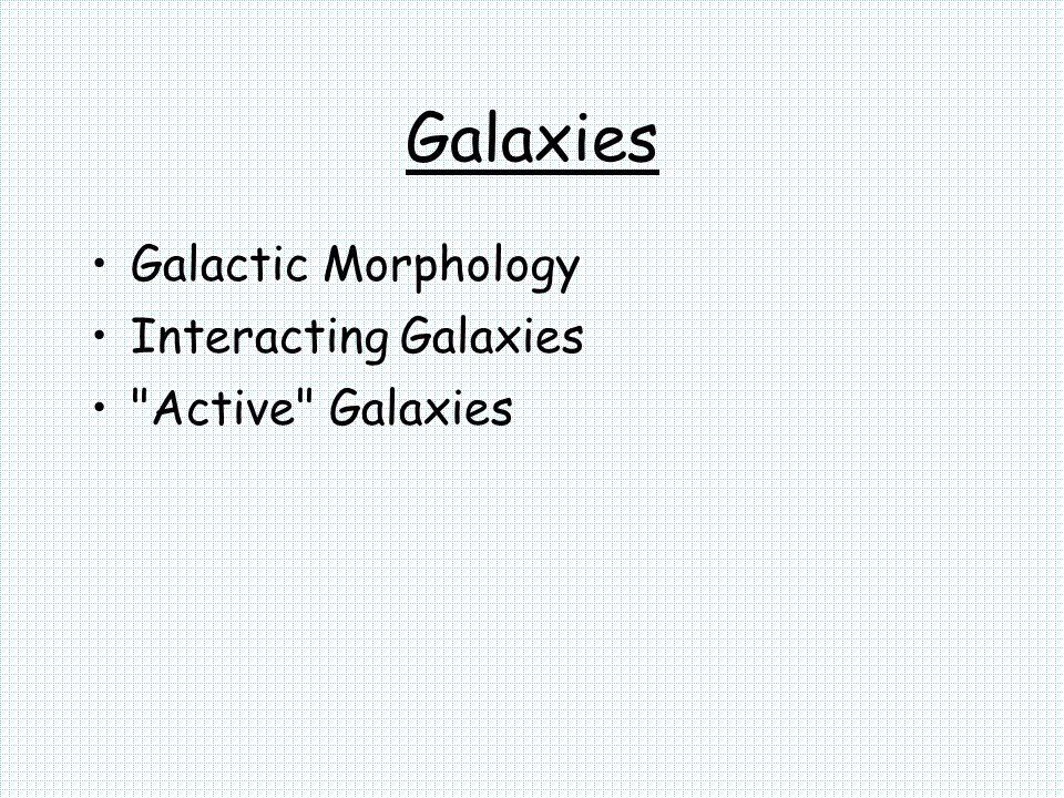 Galaxies Galactic Morphology Interacting Galaxies Active Galaxies