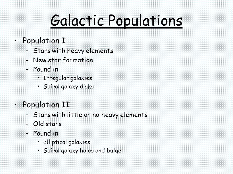 Galactic Populations Population I Population II