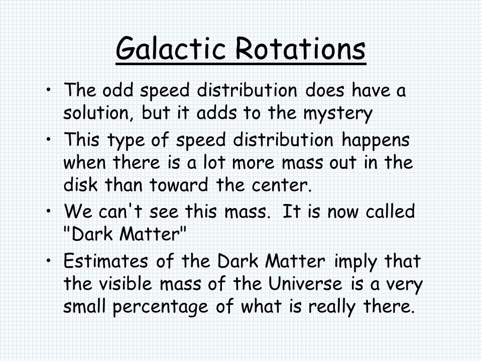 Galactic Rotations The odd speed distribution does have a solution, but it adds to the mystery.