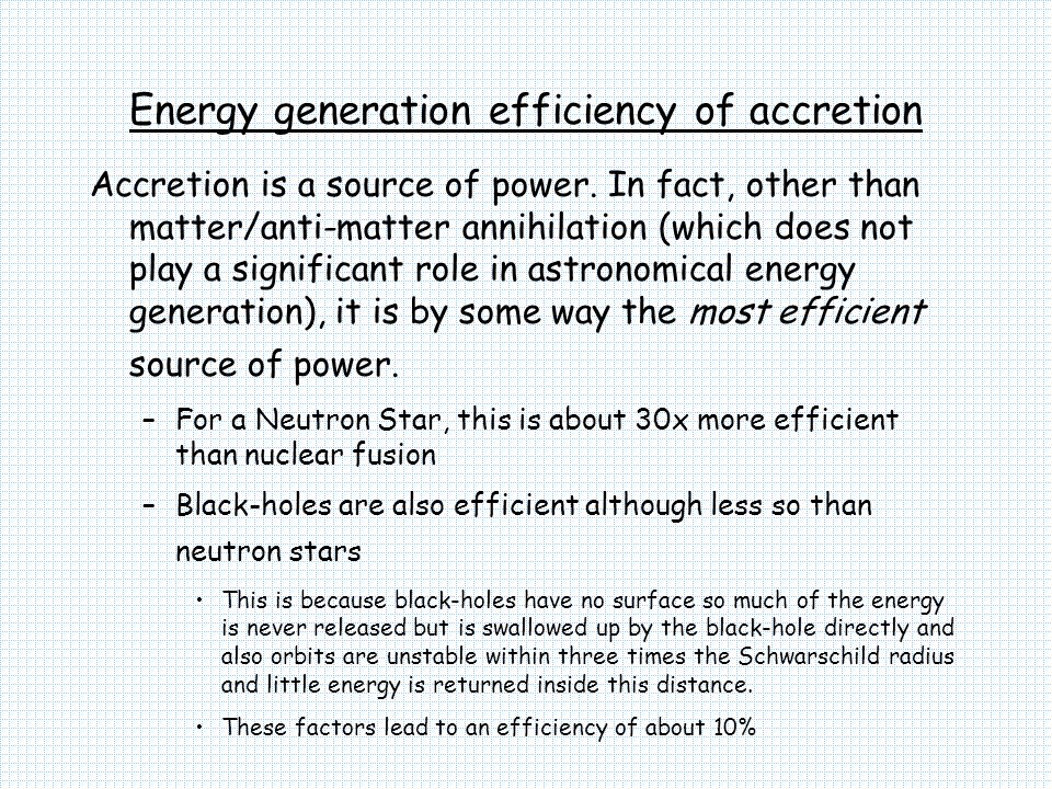 Energy generation efficiency of accretion