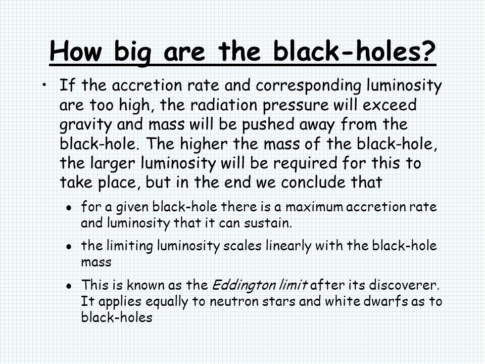 How big are the black-holes