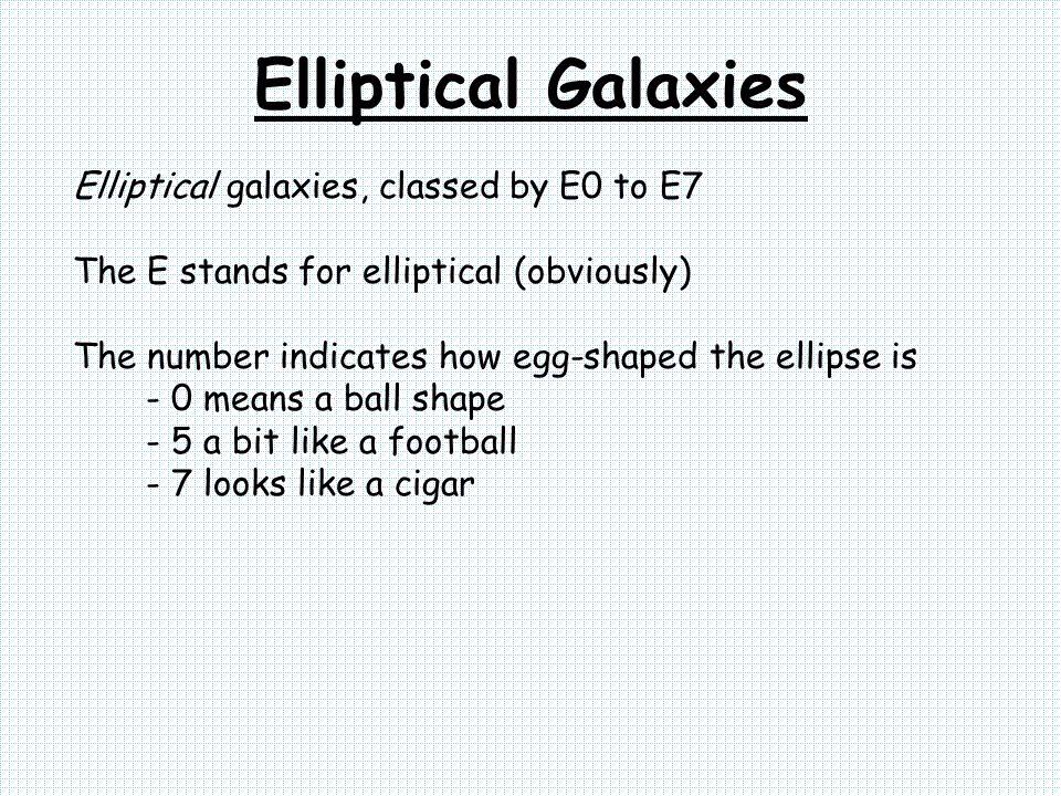 Elliptical Galaxies Elliptical galaxies, classed by E0 to E7