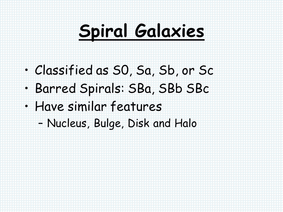 Spiral Galaxies Classified as S0, Sa, Sb, or Sc