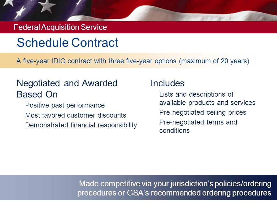 Schedule Contract Negotiated and Awarded Based On Includes