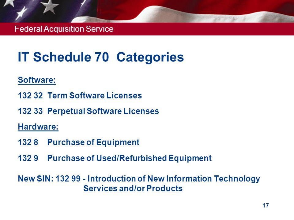 IT Schedule 70 Categories