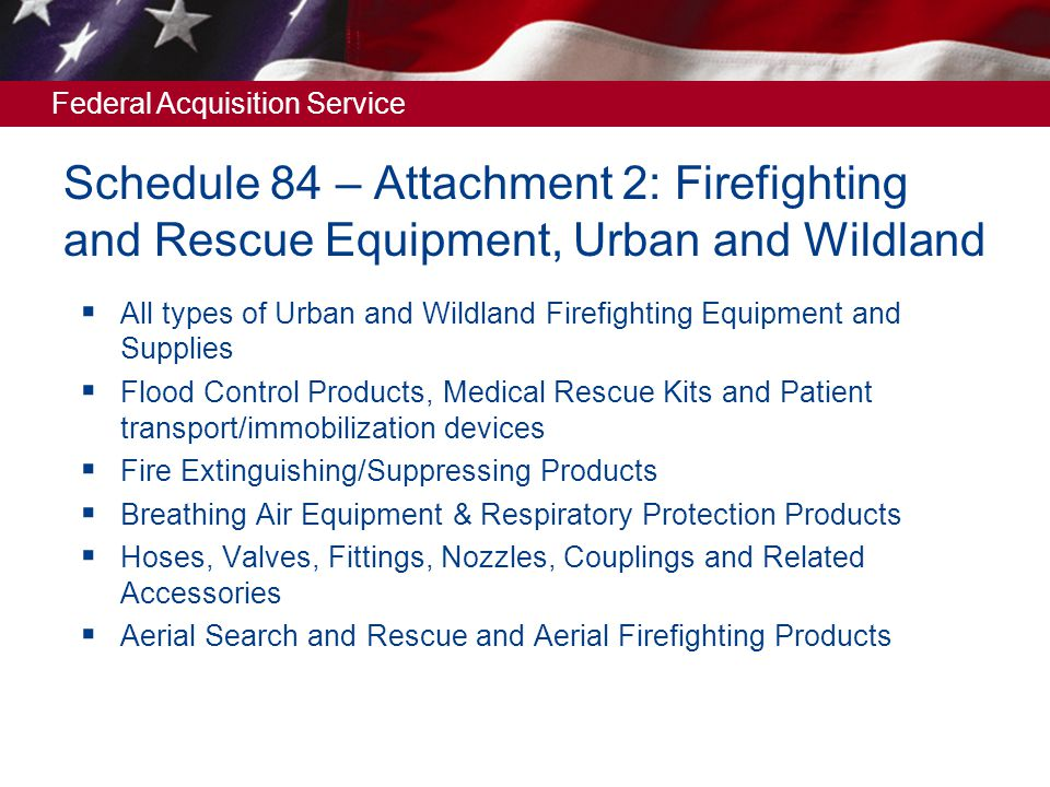 Schedule 84 – Attachment 2: Firefighting and Rescue Equipment, Urban and Wildland