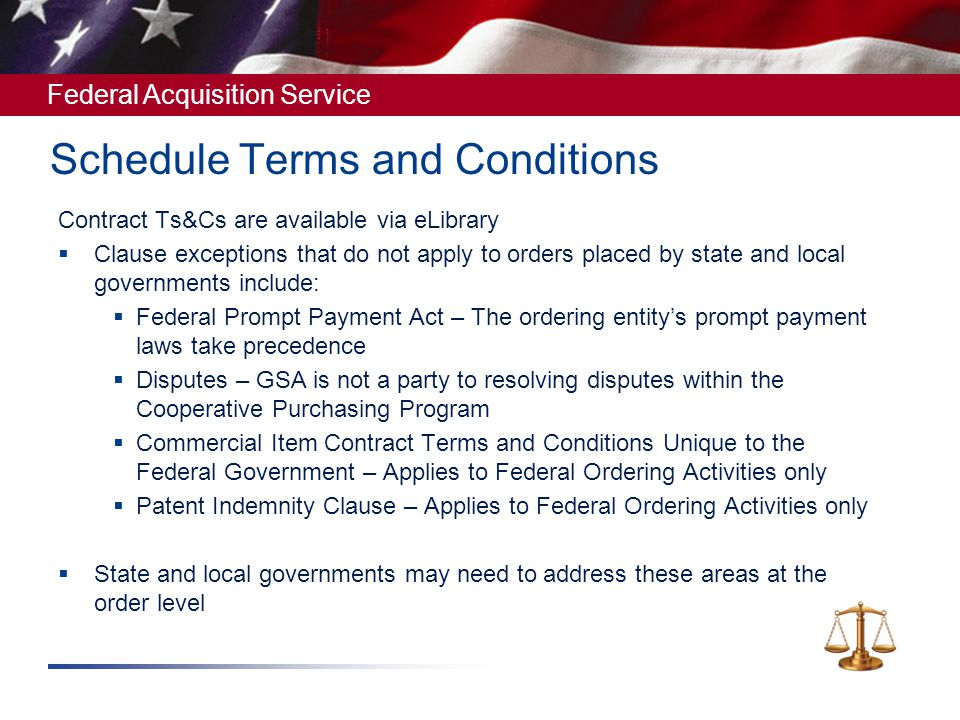 Schedule Terms and Conditions