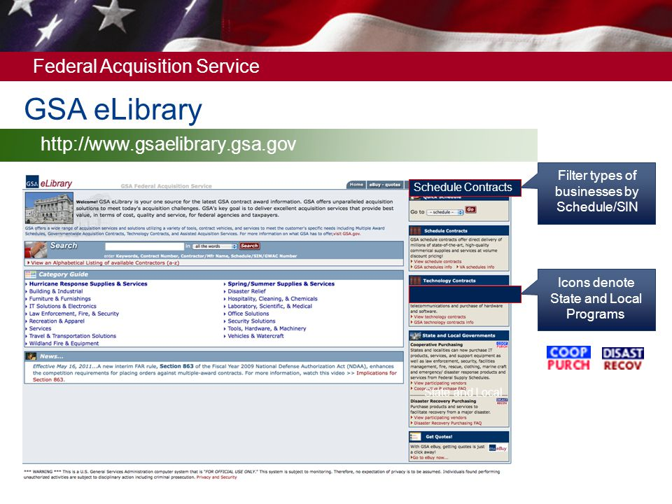 GSA eLibrary http://www.gsaelibrary.gsa.gov