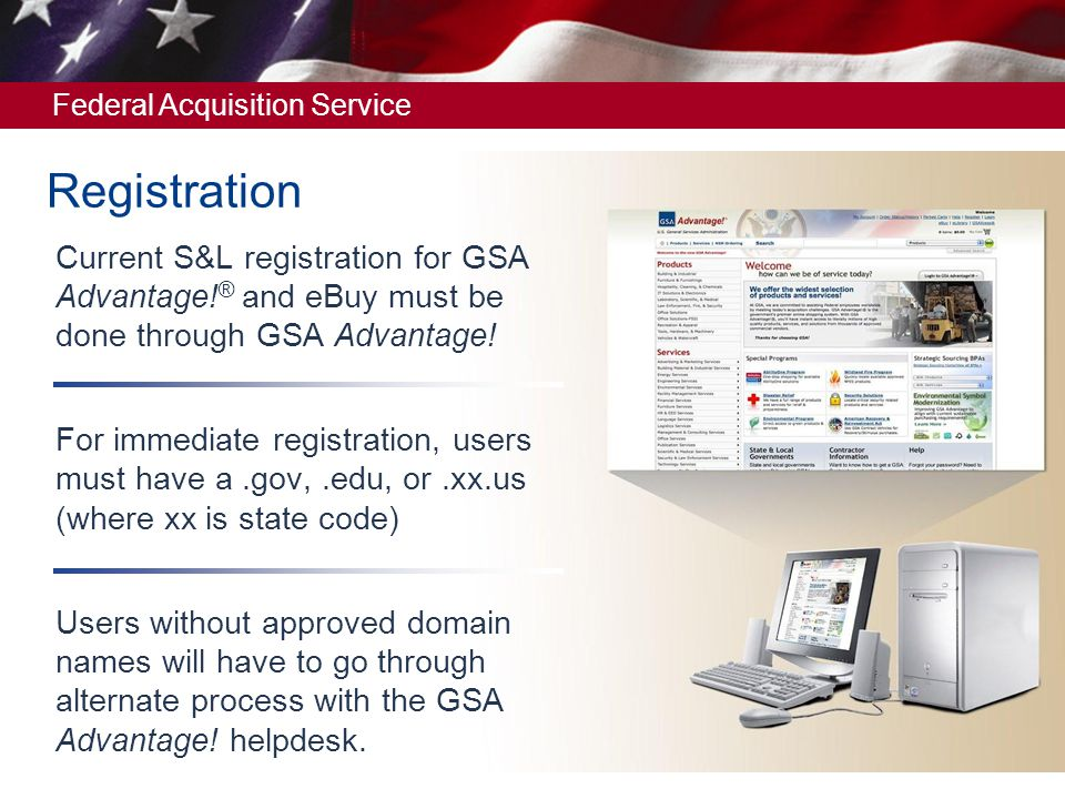 Registration Cur S L For Gsa Advantage And E Must Be Done Through
