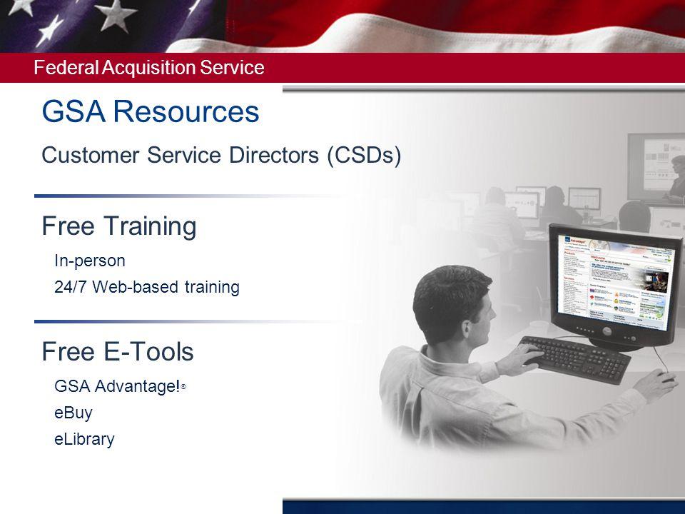 GSA Resources Free Training Free E-Tools