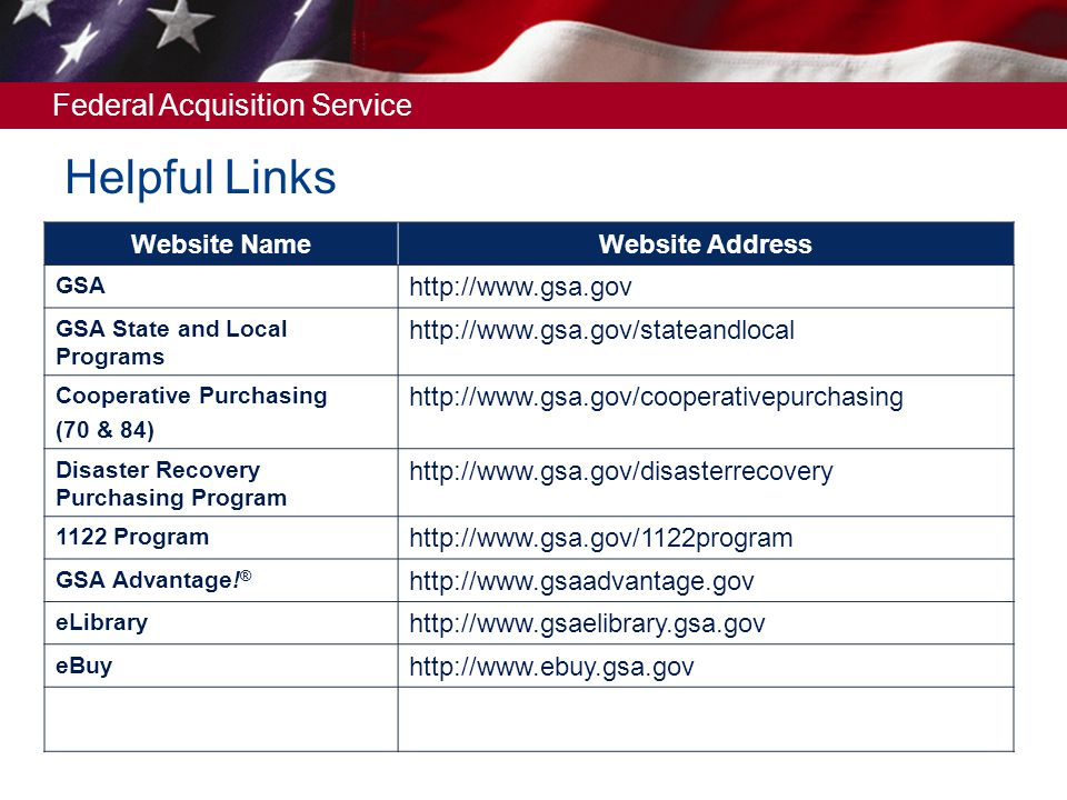 Helpful Links Website Name Website Address http://www.gsa.gov