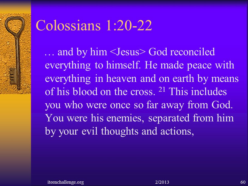 Colossians 1:20-22