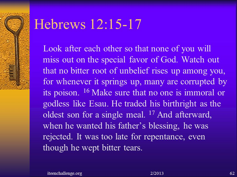 Hebrews 12:15-17