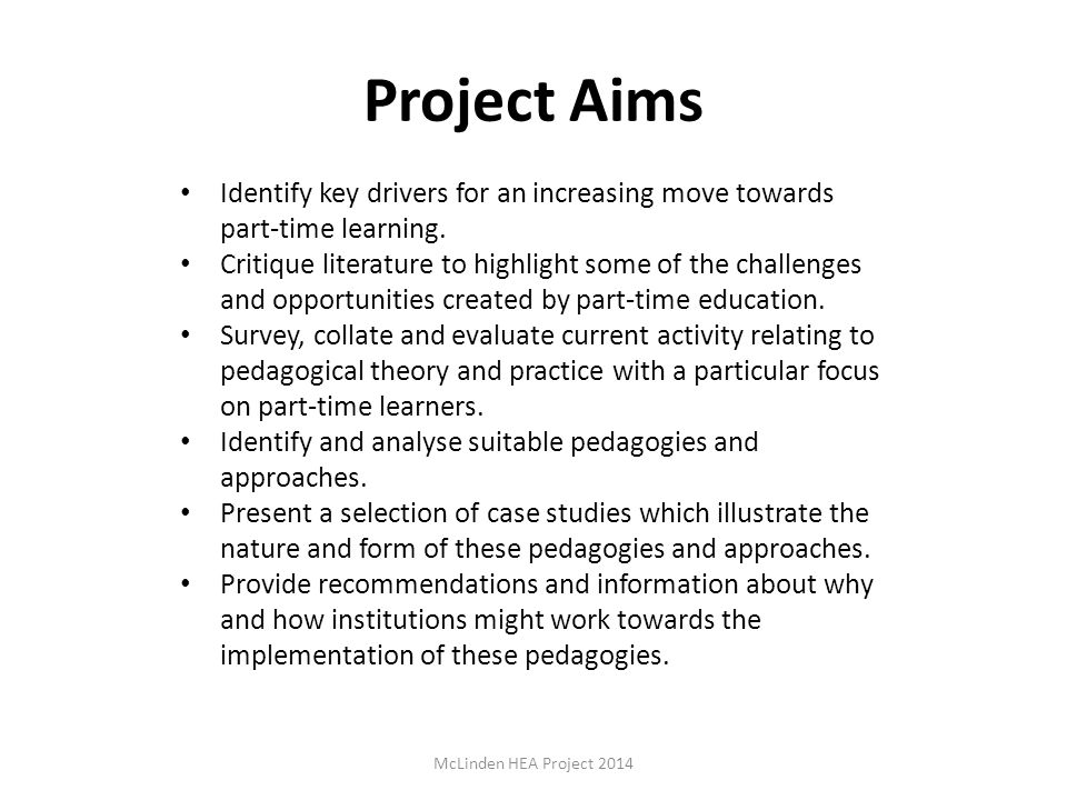 Project Aims Identify key drivers for an increasing move towards part-time learning.
