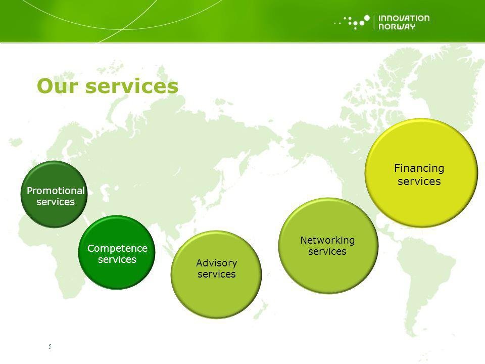 Our services Financing services Promotional services Networking
