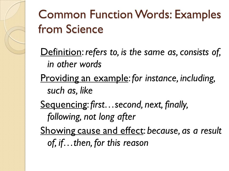 Common Function Words: Examples from Science