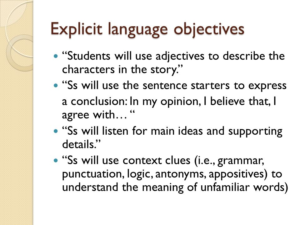 Explicit language objectives