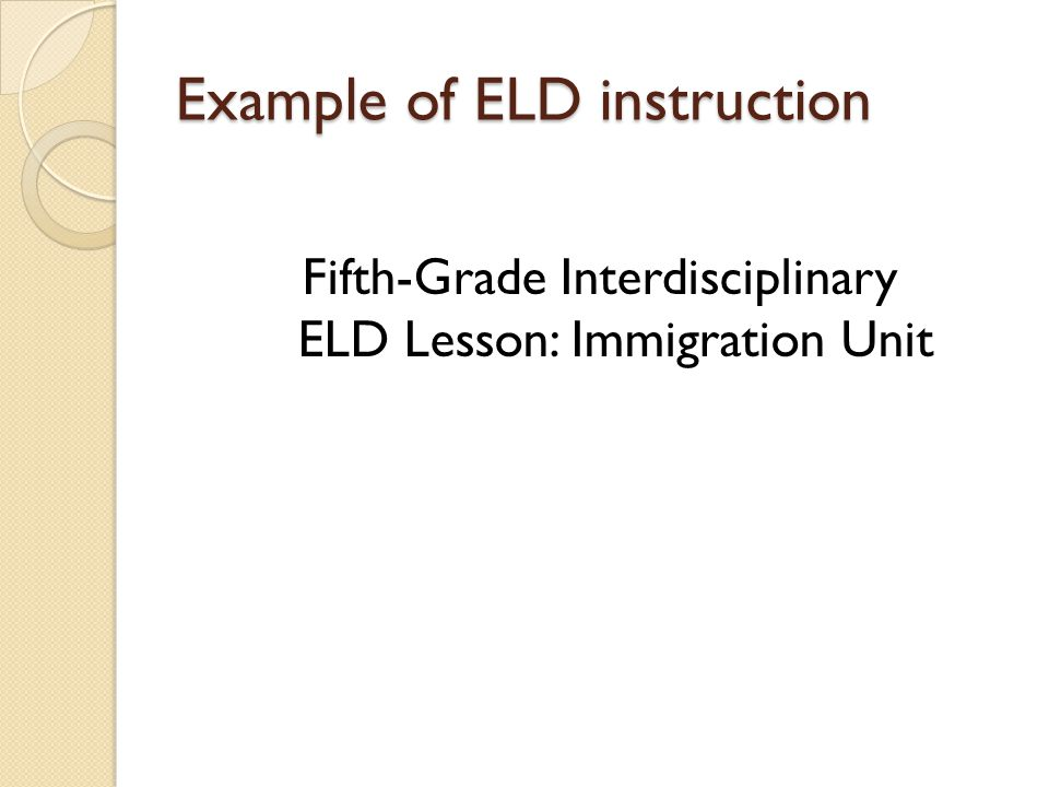 Example of ELD instruction