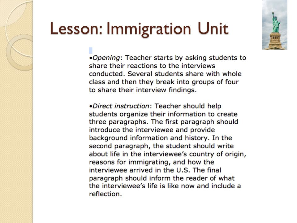 Lesson: Immigration Unit