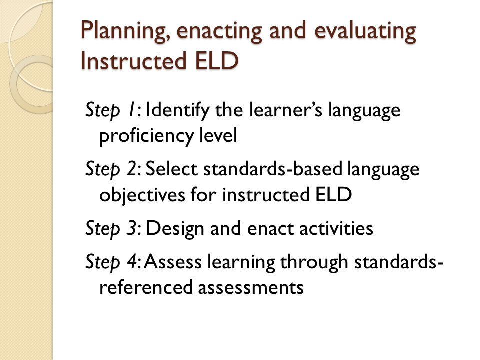 Planning, enacting and evaluating Instructed ELD