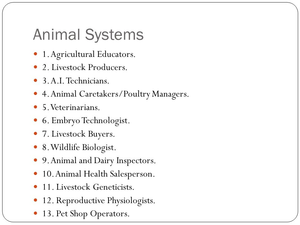 Animal Systems 1. Agricultural Educators. 2. Livestock Producers.