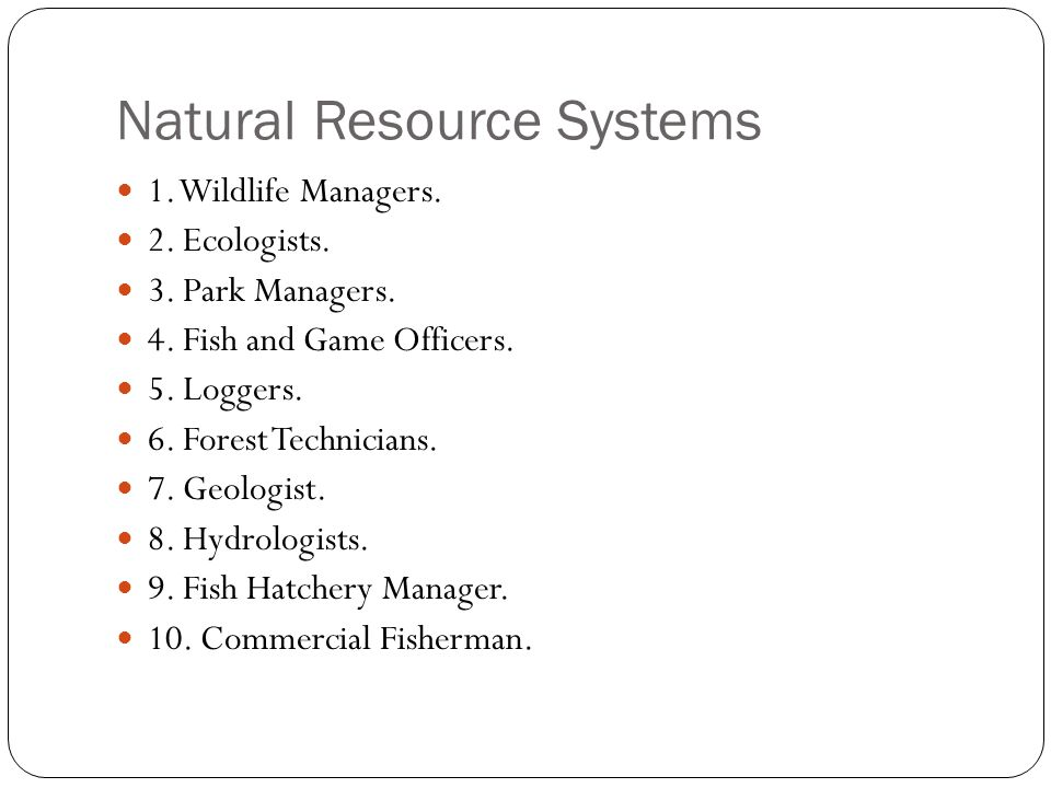 Natural Resource Systems