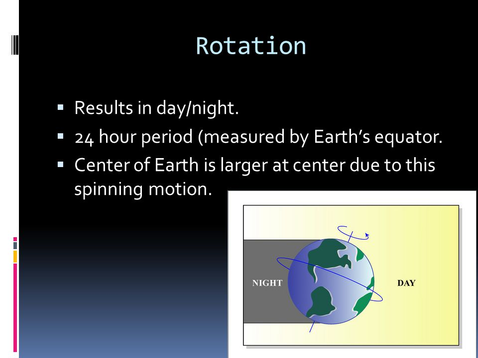 Rotation Results in day/night.