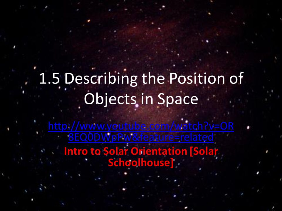 1.5 Describing the Position of Objects in Space