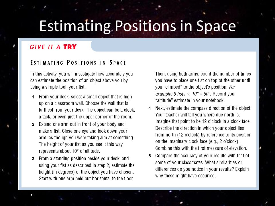 Estimating Positions in Space