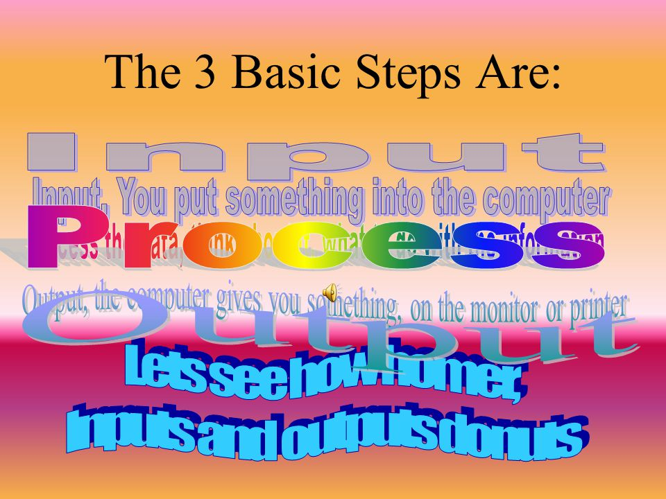 The 3 Basic Steps Are: Input