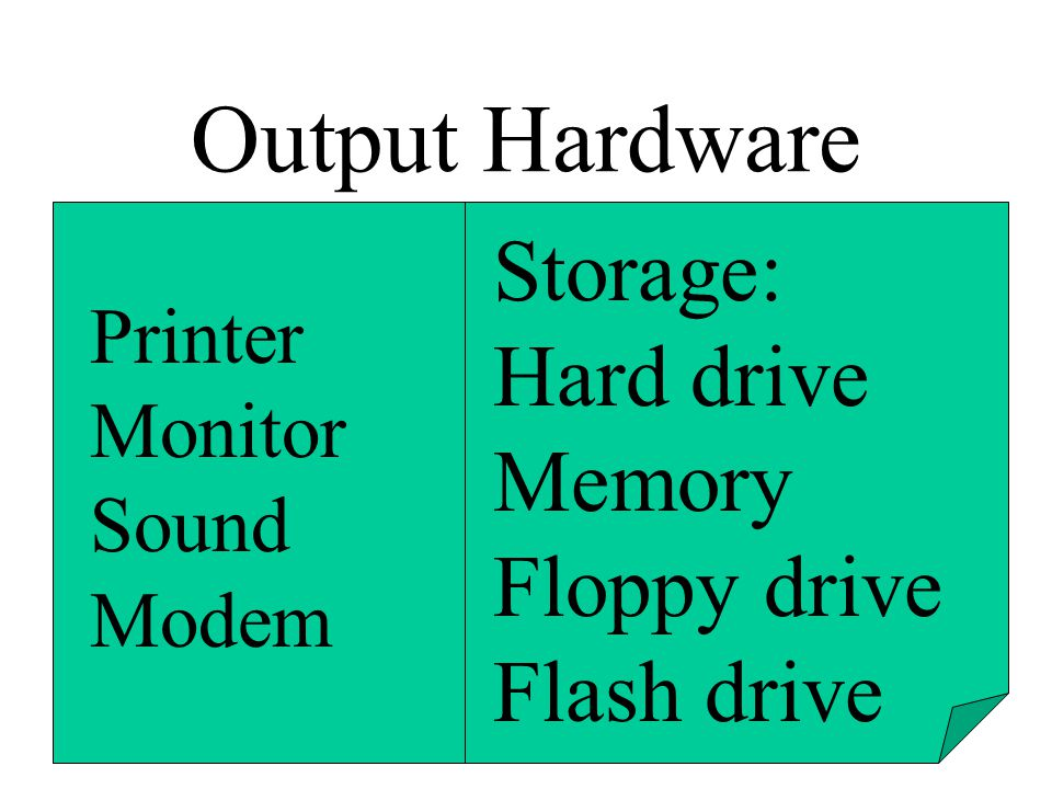 Output Hardware Storage: Hard drive Memory Floppy drive Flash drive
