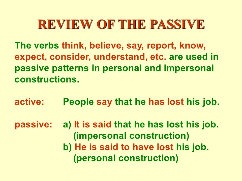 REVIEW OF THE PASSIVE