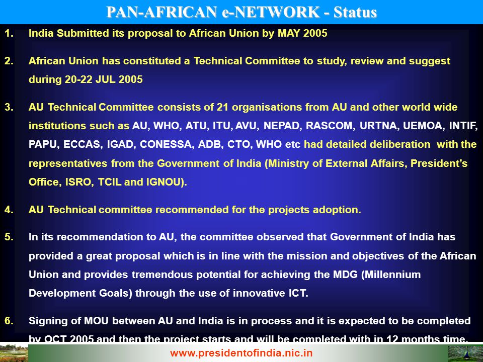 PAN-AFRICAN e-NETWORK - Status