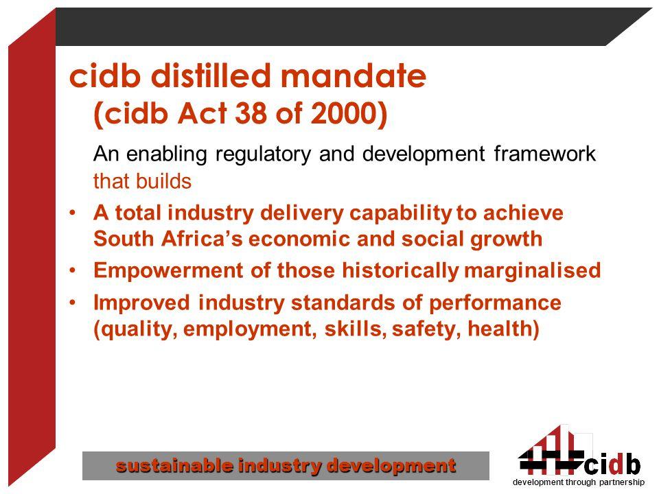 cidb distilled mandate (cidb Act 38 of 2000)