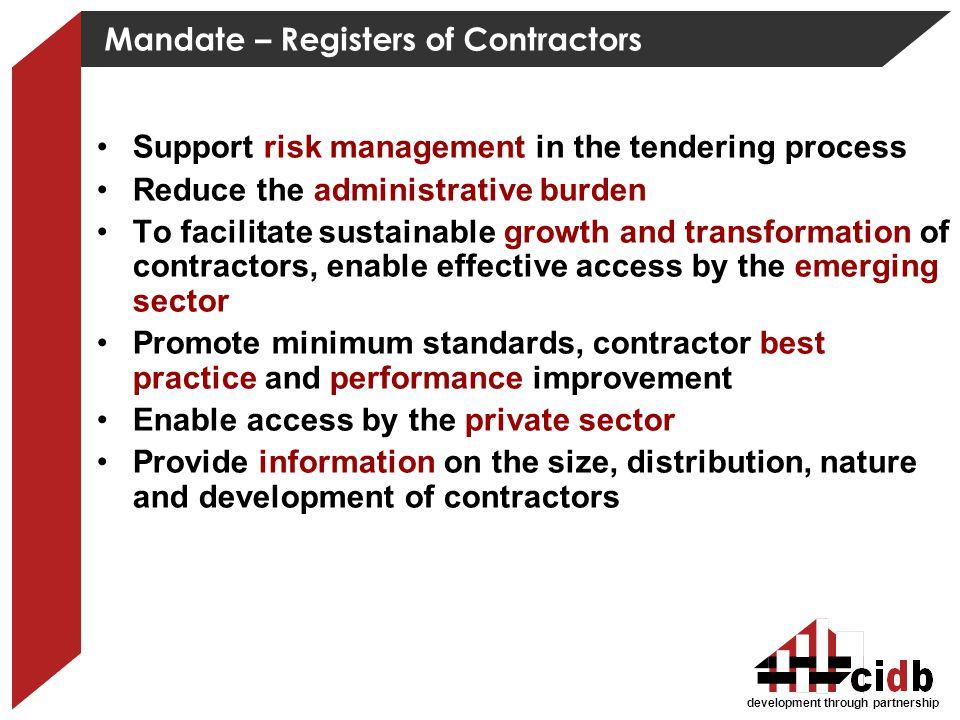 Mandate – Registers of Contractors