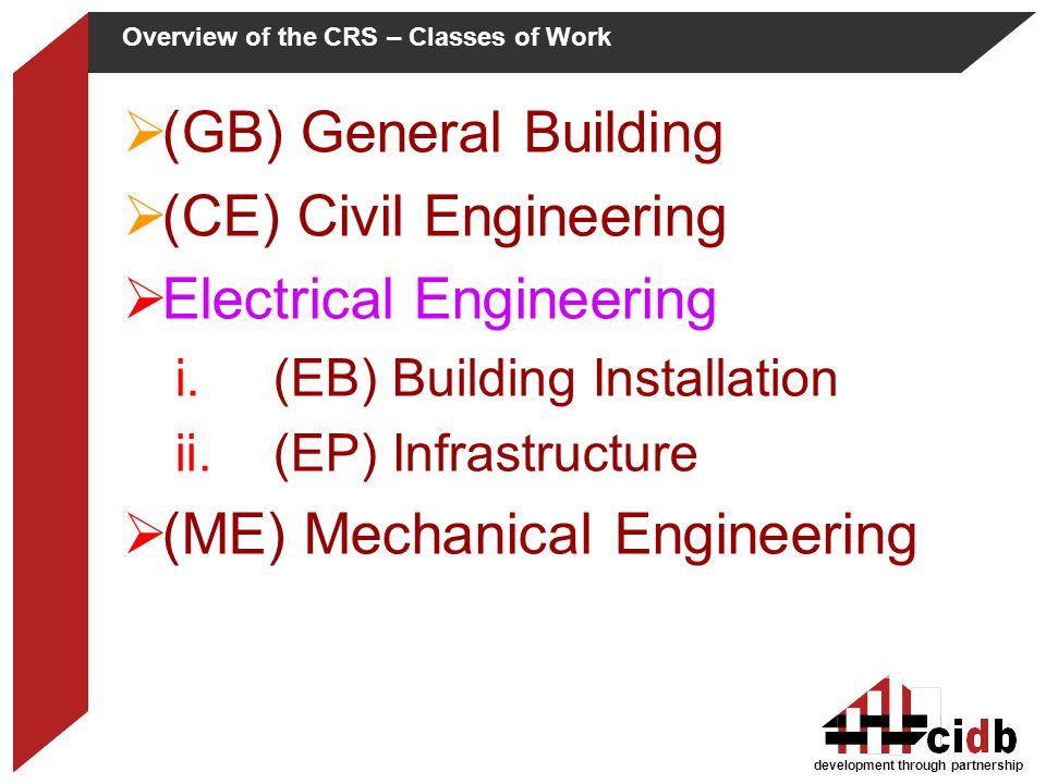 Overview of the CRS – Classes of Work