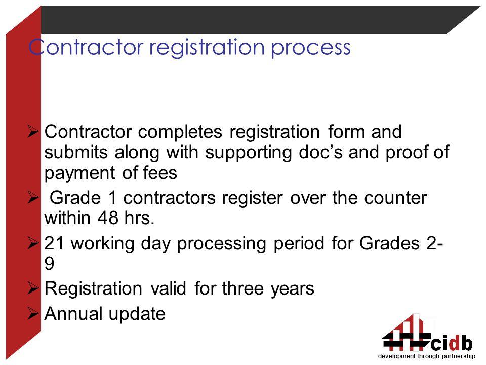 Contractor registration process