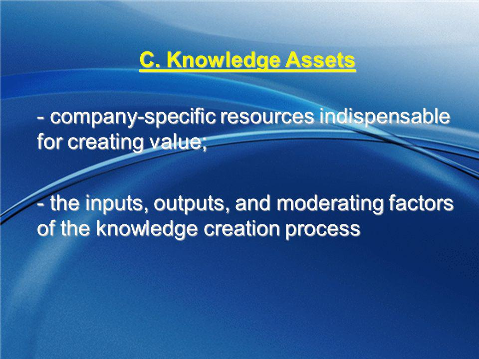 C. Knowledge Assets company-specific resources indispensable for creating value;