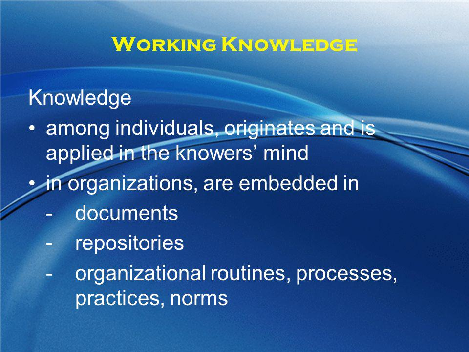 Working Knowledge Knowledge. among individuals, originates and is applied in the knowers' mind. in organizations, are embedded in.