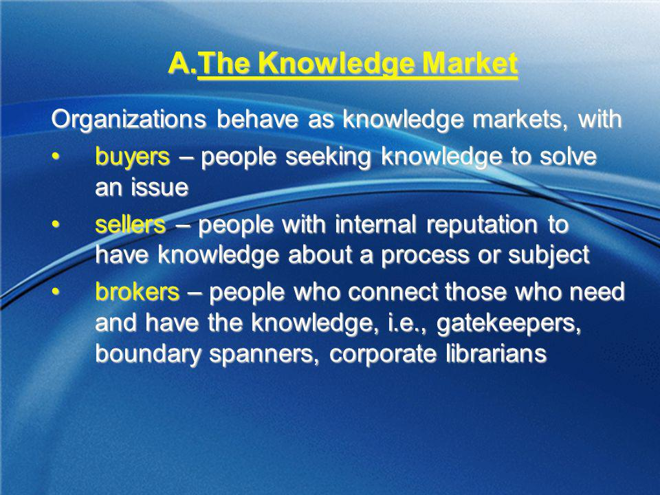 The Knowledge Market Organizations behave as knowledge markets, with