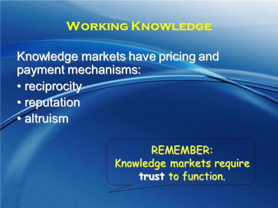 Knowledge markets require trust to function.