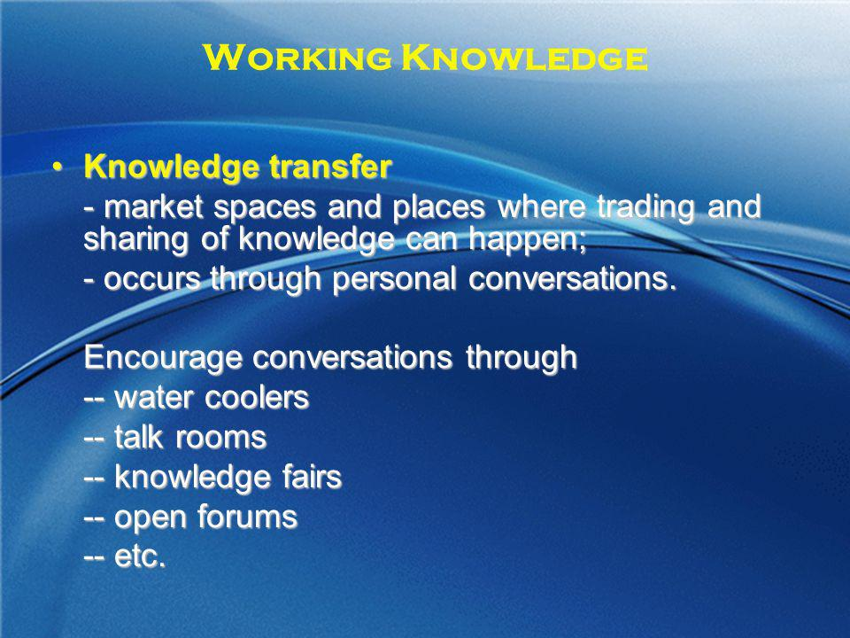 Working Knowledge Knowledge transfer